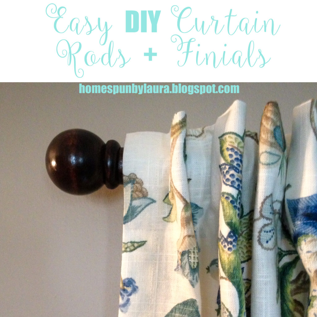 Easy DIY Curtain Rods + Finials | Homespun by Laura | How to make beautiful, inexpensive curtain rods for under $14.00 per rod!!