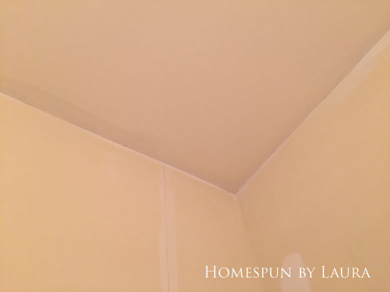 $75 DIY Powder Room (and Pantry!) Update: One Room Challenge Week 3 | Homespun by Laura | patching up damage from wallpaper removal
