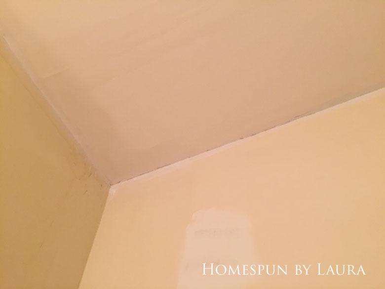 $75 DIY Powder Room (and Pantry!) Update: One Room Challenge Week 3 | Homespun by Laura | multicolored ceiling
