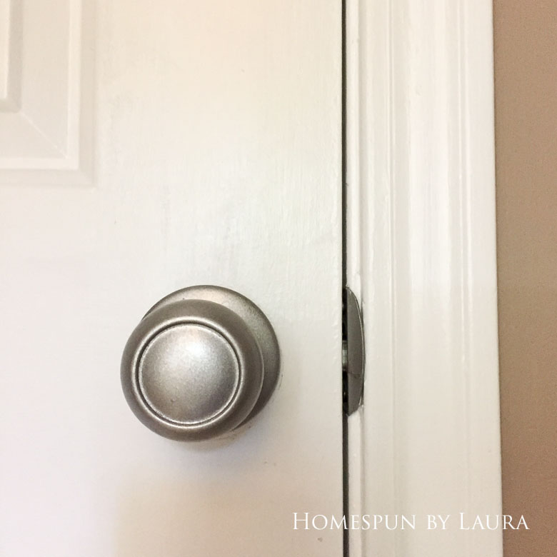 $75 DIY Powder Room (and Pantry!) Update: One Room Challenge Week 3 | Homespun by Laura | Updated doorknobs with spray paint