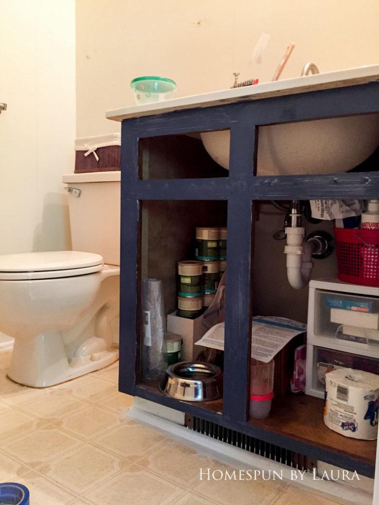 $75 DIY Powder Room (and Pantry!) Update: One Room Challenge Week 2 | Homespun by Laura | DIY vanity update: Painting the vanity