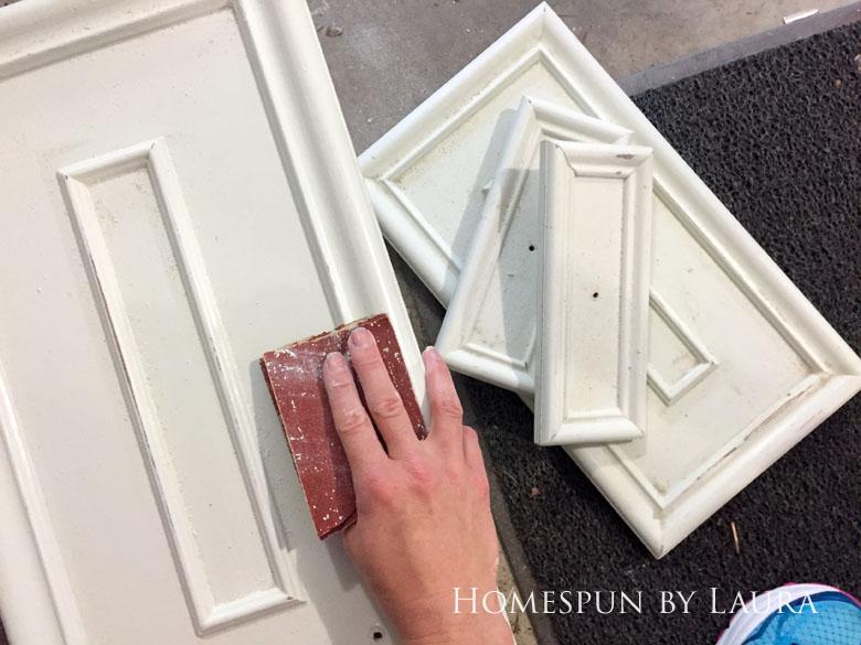 $75 DIY Powder Room (and Pantry!) Update: One Room Challenge Week 2 | Homespun by Laura | DIY vanity update: Prepping (sanding) the cabinet doors