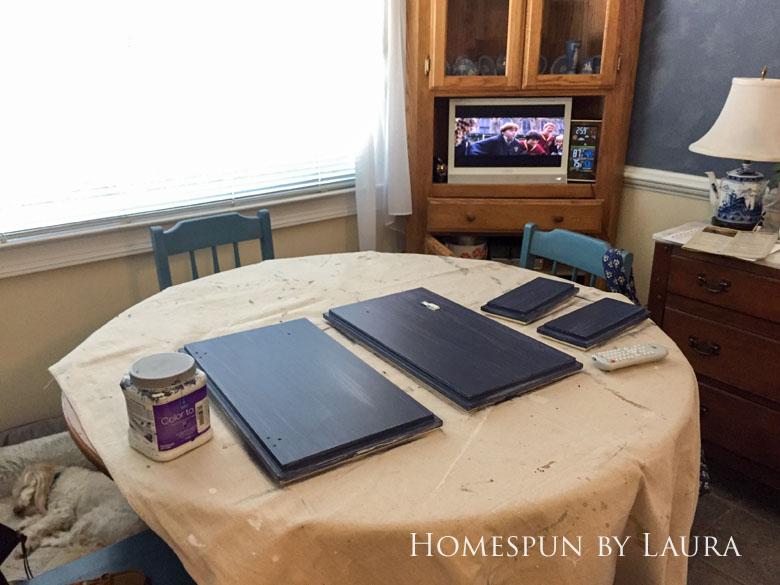 $75 DIY Powder Room (and Pantry!) Update: One Room Challenge Week 2 | Homespun by Laura | DIY vanity update: Painting the cabinet doors
