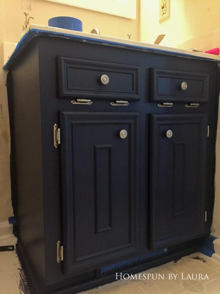 $75 DIY Powder Room (and Pantry!) Update: One Room Challenge Week 2 | Homespun by Laura | DIY vanity update: Painting the cabinet
