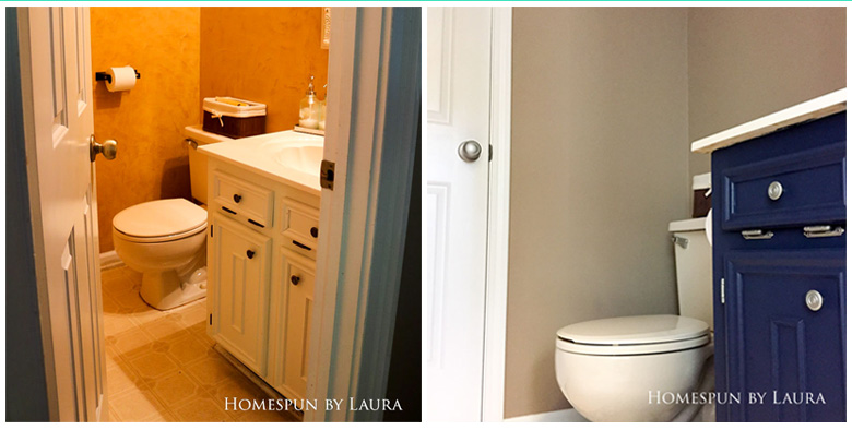 $75 DIY Powder Room (and Pantry!) Update: One Room Challenge Week 3 | Homespun by Laura | Transforming a half bathroom from floor to ceiling with paint and persistence - Before & After, Week 3