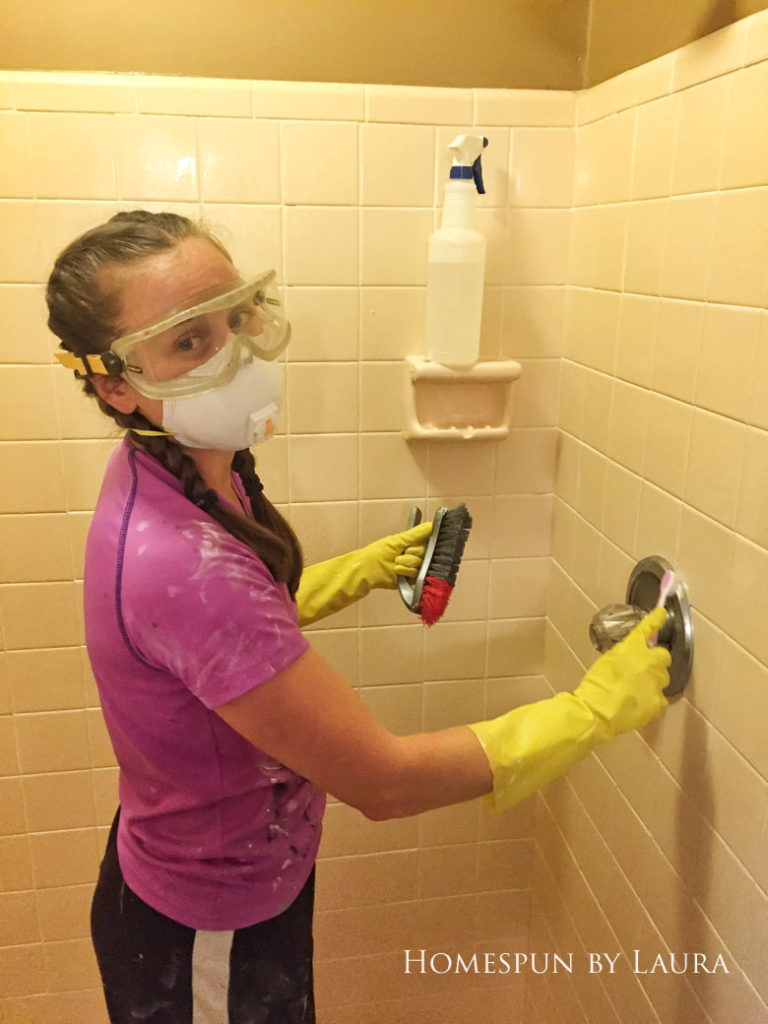 Master Bathroom Refresh   Homespun by Laura   Using home made bleach & baking soda cleaner and a bleach pen to clean gross shower grout