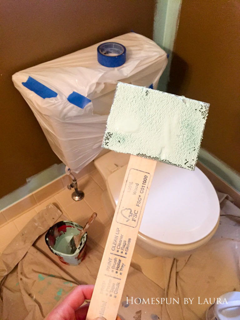$200 Mater Bathroom Refresh   Homespun by Laura   How to paint behind a toilet
