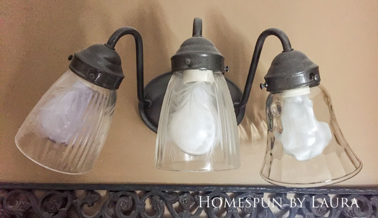 The $200 Master Bathroom Refresh   Homespun by Laura   DIY updated light fixture for under $20 (before)