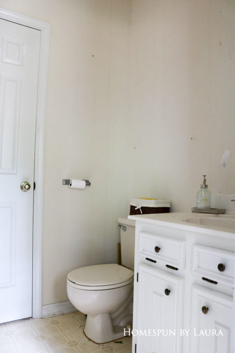 $75 DIY Powder Room (and Pantry!) Update: One Room Challenge Week 1| Homespun by Laura | Removing wallpaper in the outdated powder room