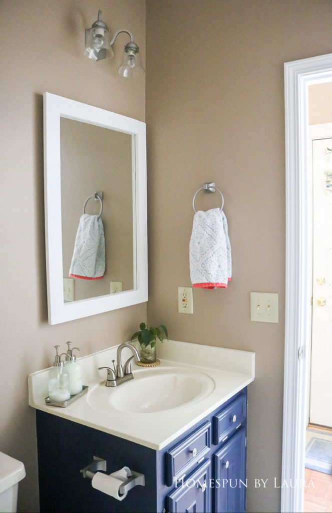 $75 DIY Powder Room (and Pantry!) Update: One Room Challenge Reveal | Homespun by Laura | Budget half bathroom makeover - simple vanity decor