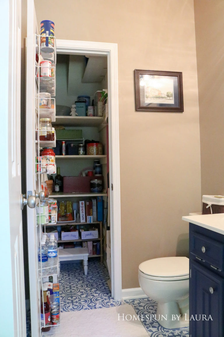 $75 DIY Powder Room (and Pantry!) Update: One Room Challenge Reveal | Homespun by Laura | Budget half bathroom makeover - simple pantry organization