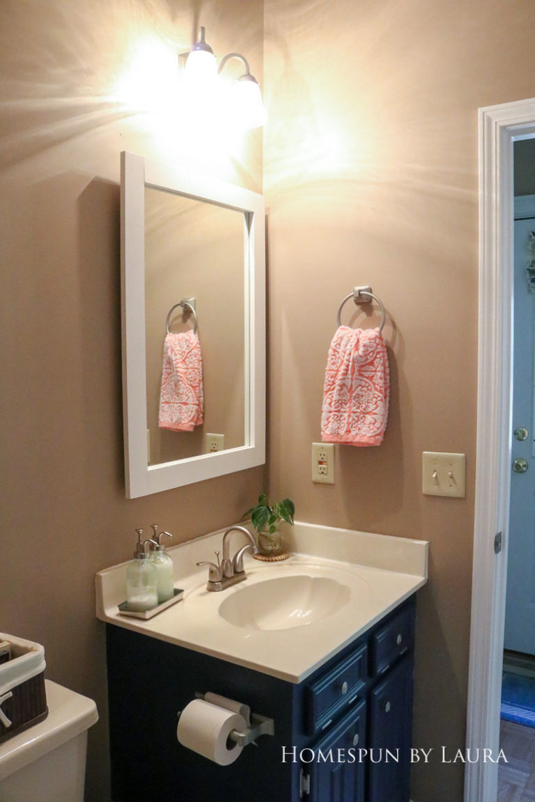 $75 DIY Powder Room (and Pantry!) Update: One Room Challenge Reveal | Homespun by Laura | Budget half bathroom makeover