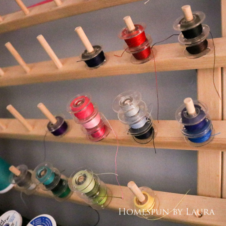 Extra bobbins are helpful for quickly changing thread colors | DIY Gift Guide for Makers and DIYers by Homespun by Laura