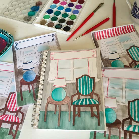 Using watercolors to sketch out potential design and finishes for the office | Homespun by Laura