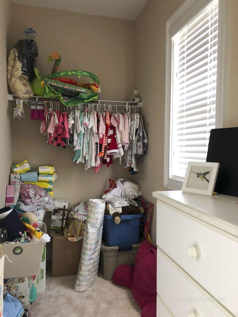 Nursery closet before - Fall 2018 One Room Challenge