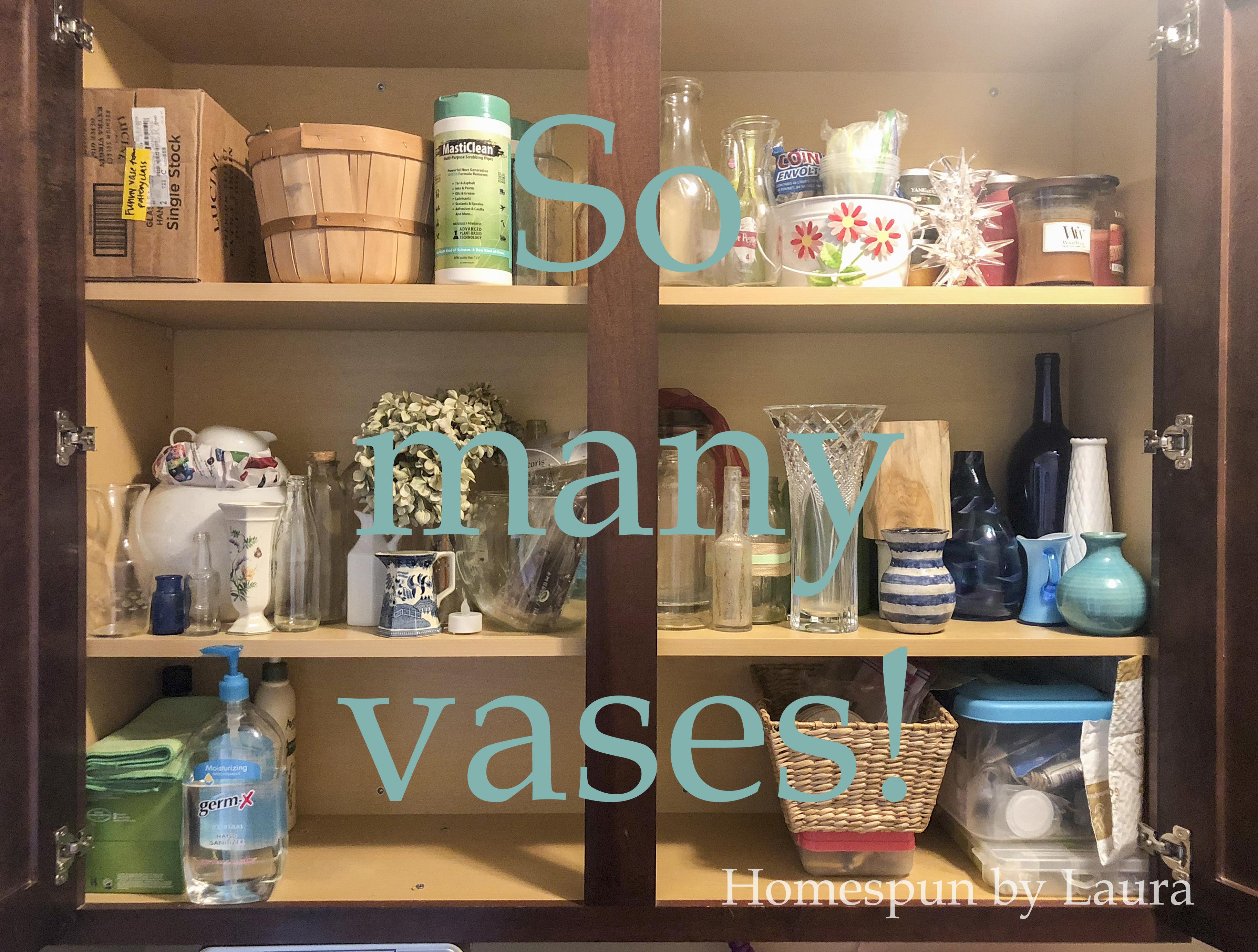 cabinet full of vases