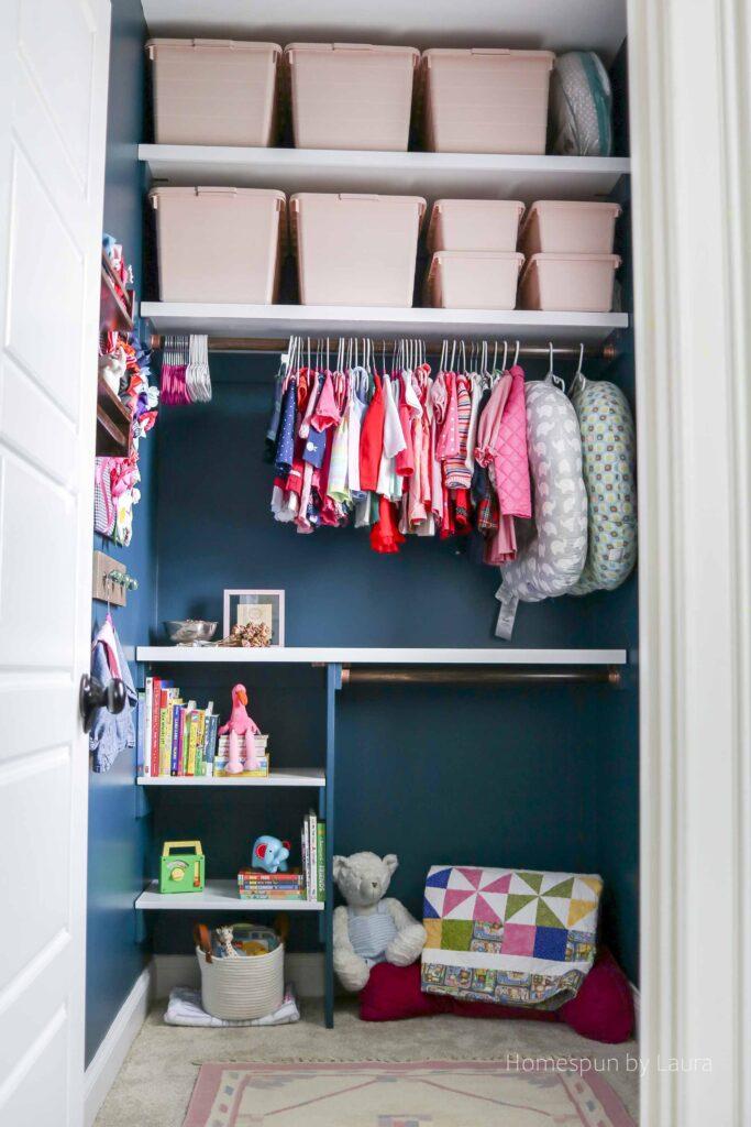 DIY Nursery Closet Shelving System