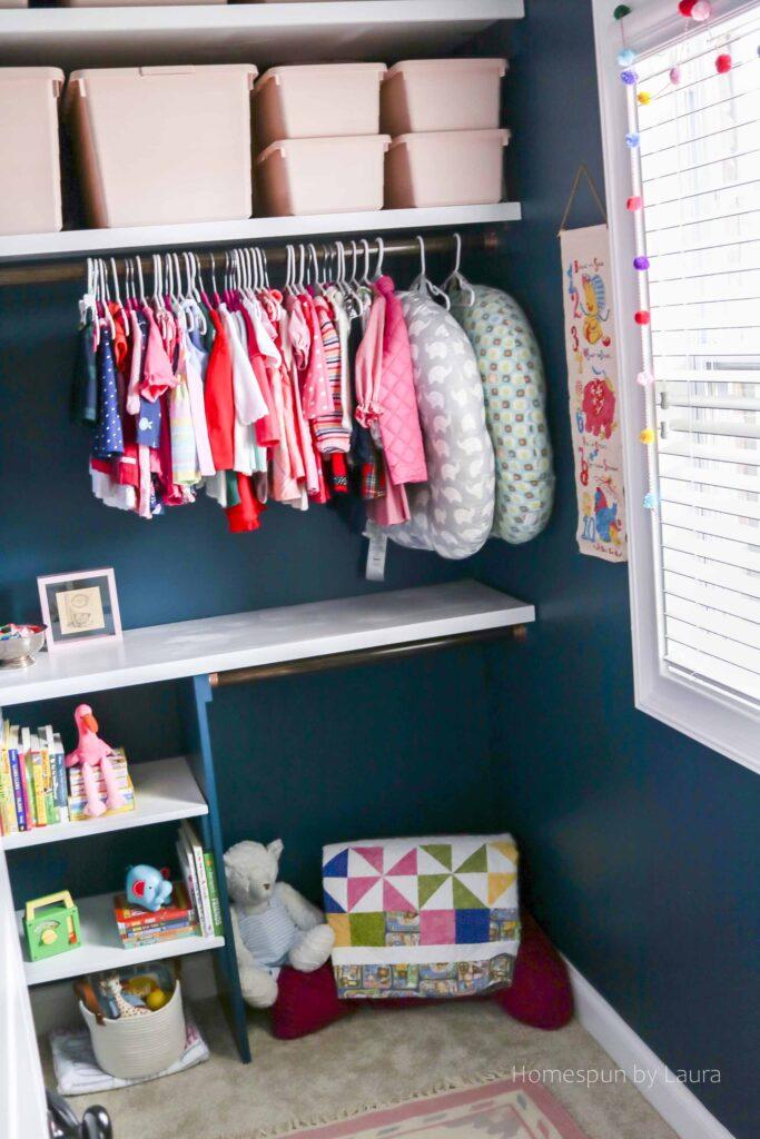 organized DIY Closet Shelving System after!