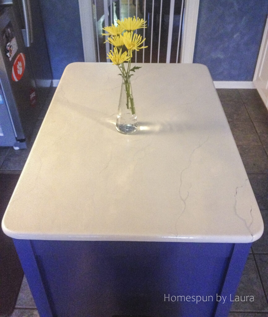 DIY painted marble island counter top
