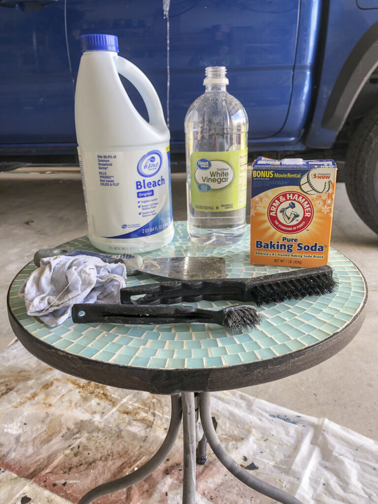 How to clean dirty grout on outdoor mosaic tile table with household cleaners   clean tile grout with baking soda & vinegar, baking soda & bleach