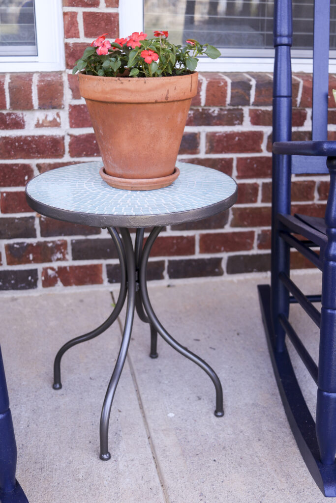 DIY Front Porch Refresh   simple ideas for big impact changes   How to clean and paint roadside treasure mosaic tile table grout