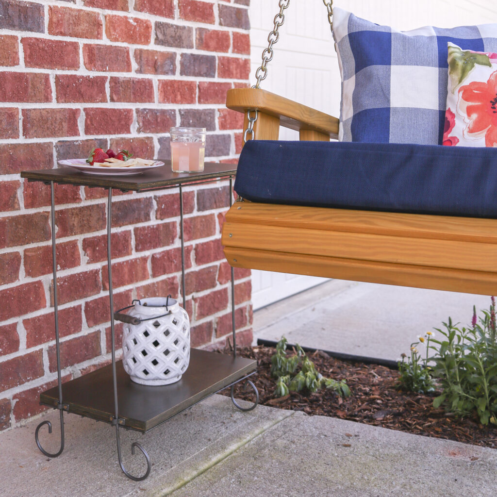DIY Front Porch Refresh   simple ideas for big impact changes   almost free DIY end table from old plant stand and scrap wood